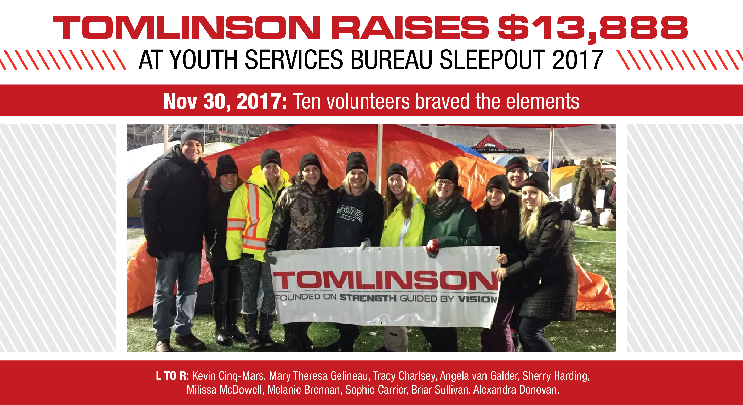 Tomlinson raises 13 888 at youth services bureau sleepout for Youth bureau ottawa